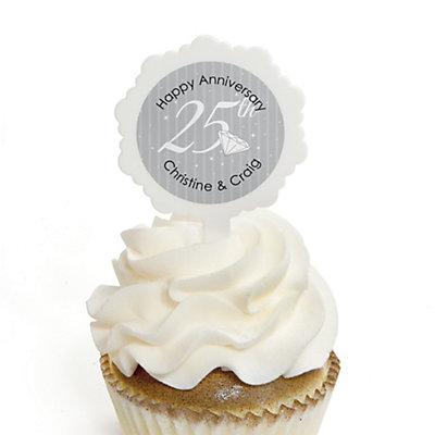 25th Anniversary - Personalized Wedding Anniversary Cupcake Pick and Sticker Kit - 12 ct