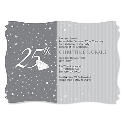 25th Anniversary - Personalized Wedding Anniversary Invitati...
