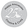 25th Anniversary - Personalized Wedding Anniversary Sticker Labels - 24 ct