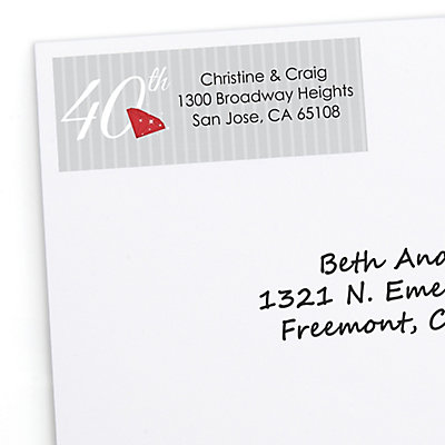 40th Anniversary - 30 Personalized Wedding Anniversary Return Address Labels