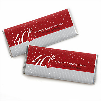 40th Anniversary - Personalized Candy Bar Wrapper Anniversary Favors