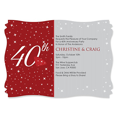 40th Anniversary - Personalized Wedding Anniversary Invitati...