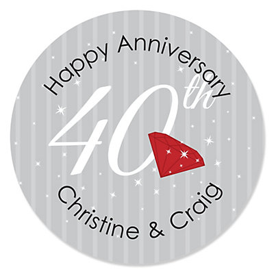 40th Anniversary - Personalized Wedding Anniversary Sticker ...