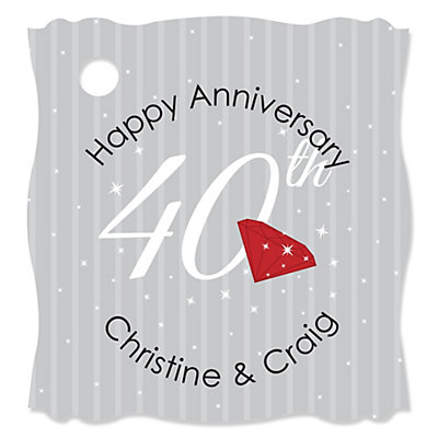 40th Anniversary - 20 Personalized Wedding Anniversary Die-Cut Card Stock Tags