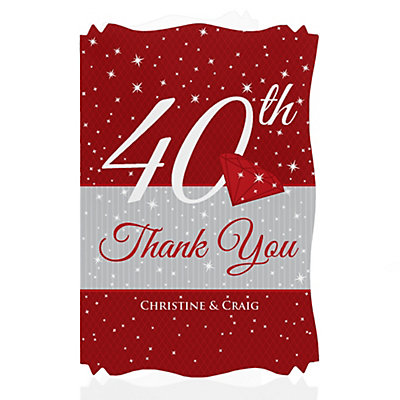 40th Anniversary - Personalized Wedding Anniversary Thank You Cards With Squiggle Shape