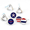 4th of July - Round Candy Labels Independence Day Favors - Fits Hershey's Kisses - 108 ct