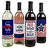 4th of July - Independence Day Wine Bottle Labels - Set of 4