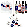 4th of July - Independence Day Decorations & Favors Kit - Wine, Water and Candy Labels Trio Sticker Set