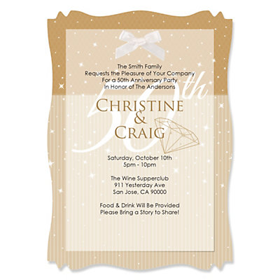 50th Anniversary - Personalized Vellum Overlay Wedding Anniversary Invitations With Squiggle Shape