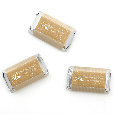 50th Anniversary - Personalized Wedding Anniversary Mini Candy Bar Wrapper Favors - 20 ct