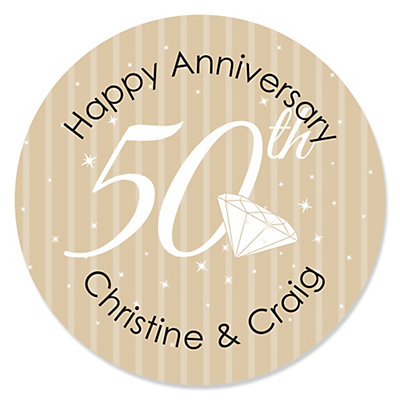 50th Anniversary - 24 Round Personalized Wedding Anniversary Sticker Labels