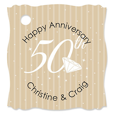 50th Anniversary - 20 Personalized Wedding Anniversary Die-Cut Card Stock Tags