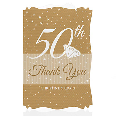 50th Anniversary - Personalized Wedding Anniversary Thank You Cards With Squiggle Shape
