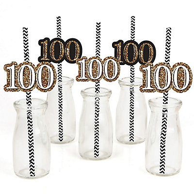 Adult 100th birthday gold party straw decor with for 100th birthday decoration ideas