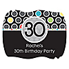 Adult 30th Birthday - Personalized Birthday Party Squiggle Stickers - 16 ct