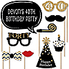 Adult 40th Birthday - Gold - 20 Piece Photo Booth Props Kit