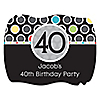 Adult 40th Birthday - Personalized Birthday Party Squiggle Stickers - 16 ct