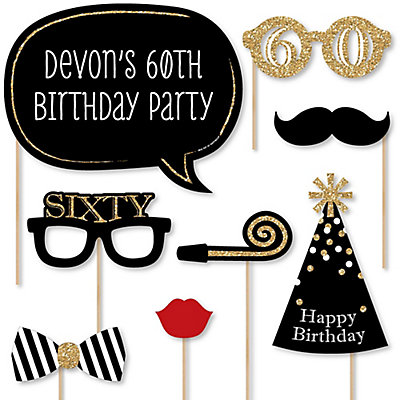 Adult birthday party photo booth props kit