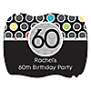 Adult 60th Birthday - Personalized Birthday Party Squiggle Stickers - 16 ct