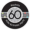 Adult 60th Birthday - Personalized Birthday Party Sticker Labels - 24 ct