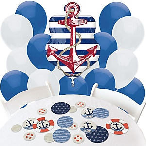 Ahoy - Nautical - Confetti and Balloon Party Decorations - Combo Kit