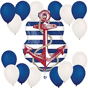 Ahoy - Nautical - Mylar Balloon Kit