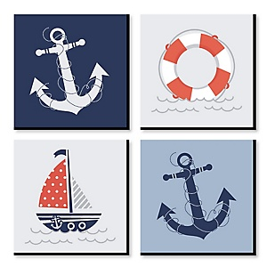 "Ahoy - Nautical - Kids Room, Nursery & Home Décor – 11"" x 11"" Kids Wall Art – Set of 4 Prints"