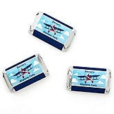 Airplane - Personalized Baby Shower Mini Candy Bar Wrapper Favors - 20 ct
