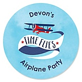 Airplane - Personalized Baby Shower Round Sticker Labels - 24 Count