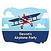 Airplane - Personalized Party Squiggle Stickers - 16 ct
