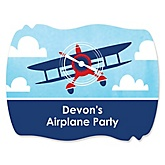 Airplane - Personalized Baby Shower Squiggle Sticker Labels - 16 Count