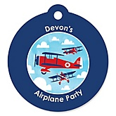 Airplane - Personalized Baby Shower Round Tags - 20 Count
