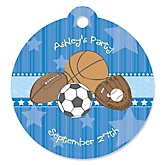 All Star Sports - Personalized Baby Shower Round Tags - 20 Count