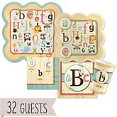 A is for Alphabet - Baby Shower Tableware Bundle for 32 Guests