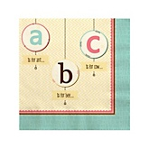 A is for Alphabet - Baby Shower Beverage Napkins - 16 Pack
