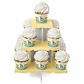 A is for Alphabet - Baby Shower Cupcake Stand & 13 Cupcake Wrappers