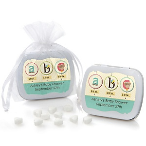 A is for Alphabet - Personalized Baby Shower Mint Tin Favors