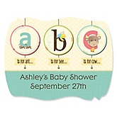 A is for Alphabet - Personalized Baby Shower Squiggle Sticker Labels - 16 Count