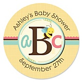A is for Alphabet - Personalized Baby Shower Round Sticker Labels - 24 Count