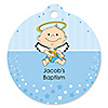 Angel Baby Boy - Round Personalized Baptism Tags - 20 ct