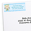 Angel Baby Boy - Personalized Baptism Return Address Labels - 30 ct