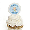 Angel Baby Boy - Personalized Baptism Cupcake Picks and Sticker Kit - 12 ct