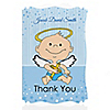 Angel Baby Boy - Personalized Baptism Thank You Cards