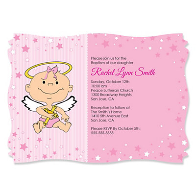 angel baby girl personalized baptism invitations birthday parties