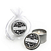Modern Floral Black & White - Any Year - Personalized  Wedding Anniversary Candle Tin Favors