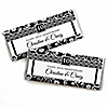 Modern Floral Black - White - Any Year - Personalized Wedding Anniversary Candy Bar Wrapper Favors