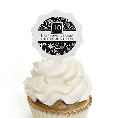 Modern Floral Black & White - Any Year - Personalized Wedding Anniversary Cupcake Pick and Sticker Kit - 12 ct