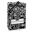 Modern Floral Black - White - Any Year - Personalized Wedding Anniversary Favor Boxes