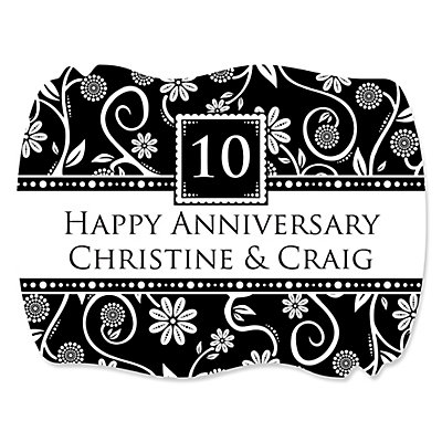 Modern Floral Black & White - Any Year - Personalized We...