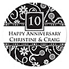 Modern Floral Black & White - Any Year - Personalized Wedding Anniversary Sticker Labels - 24 ct